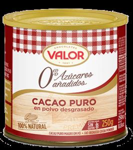 cacao puro desgrasado sin azucares anadidos valor