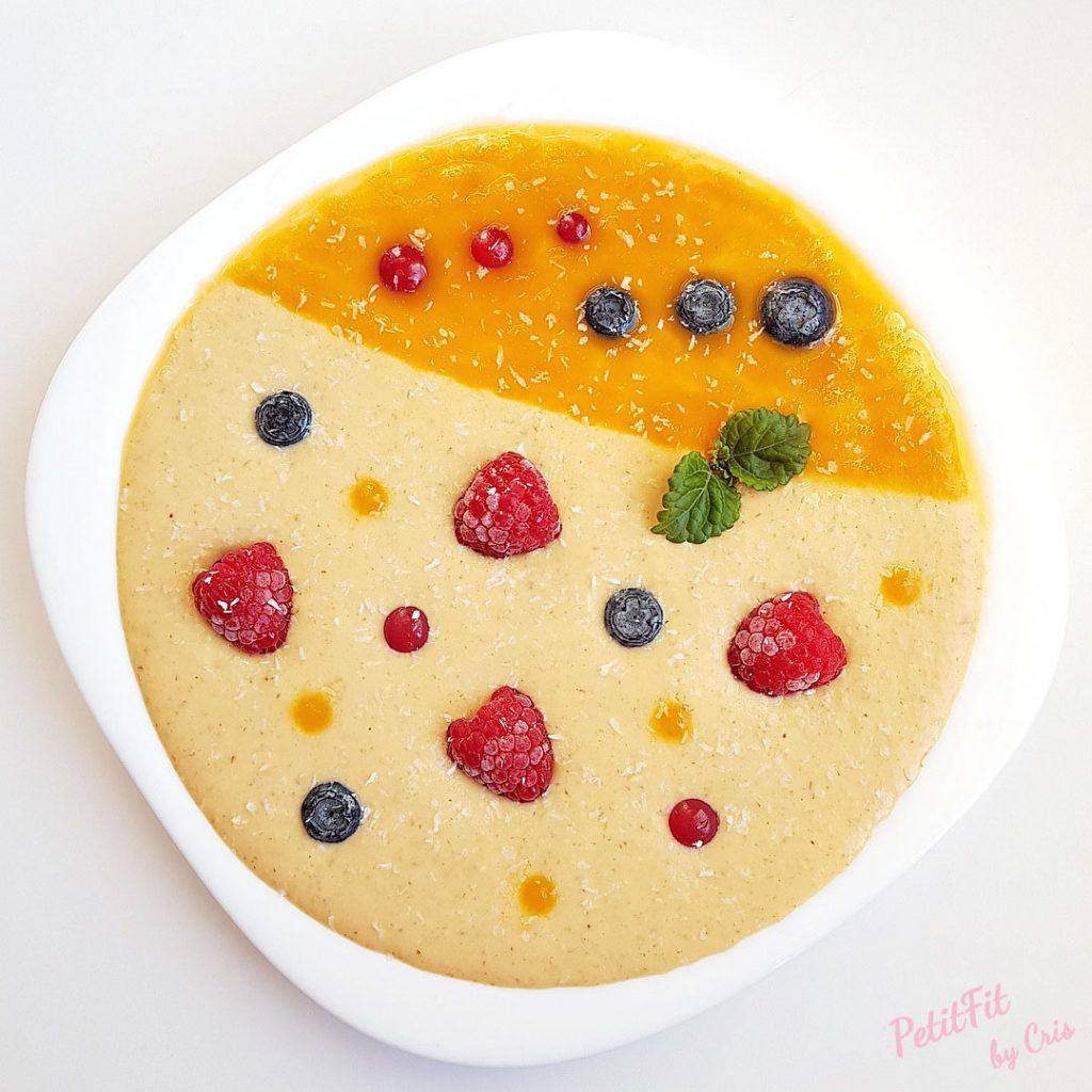 smoothie porridge de zanahoria narnaja mango piña y curcuma
