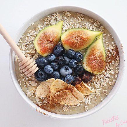 porridge de cabra higos y manzana deshidratada