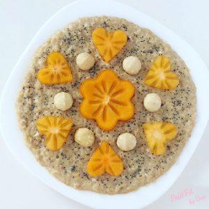 porridge de caqui con semillas de amapola