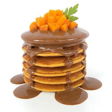 tortitas de calabaza con crema de almendras