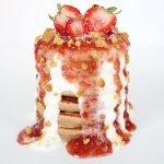 tortitas de tarta de queso de fresa y coco